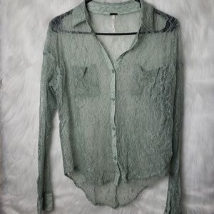 Free People | Lace Green Collared Button Down XS